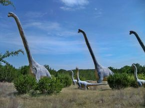 Glen Rose...You'll truly feel like you've traveled back to prehistoric times as you walk through a field with over 150 life-sized dinosaur statues.