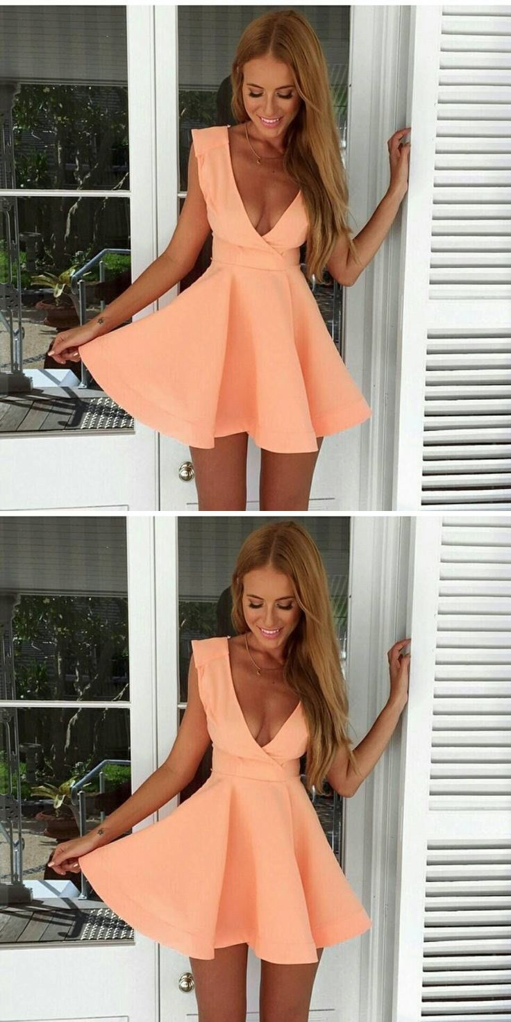 mini dresses for girls, chic deep v-neck orange homecoming dresses, semi- formal dresses.