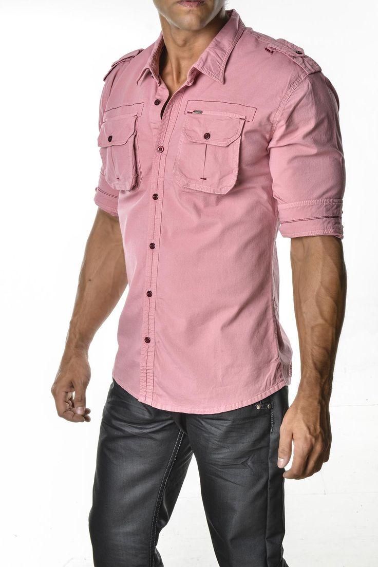 Camisa hombre color palo de rosa