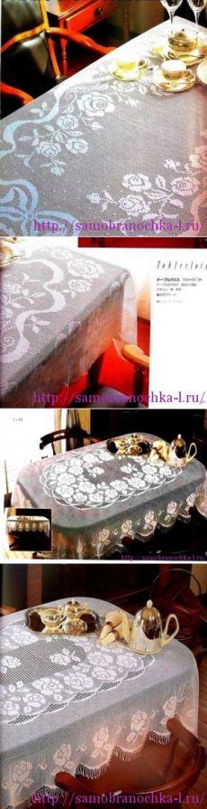 Две изысканных скатерти с розами в филейной технике - САМОБРАНОЧКА рукодельницам, мастерицам