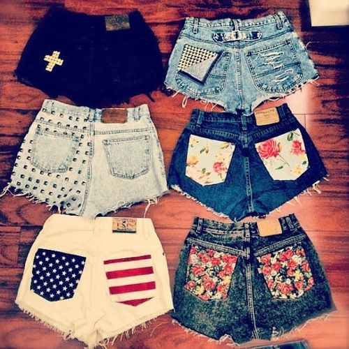 Patch perfect Grab some of your fave-patterned fabric, cut into the size of your pockets and sew them onto the back of your fave shorts. Floral patterns are great for the summer.