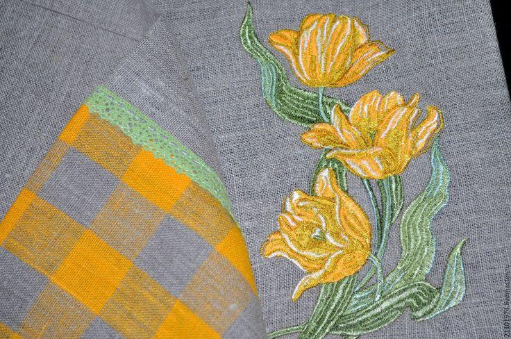 Купить Дорожка на стол(вышивка тюльпаны) - желтый, тюльпаны, 8 марта, 8 марта подарок