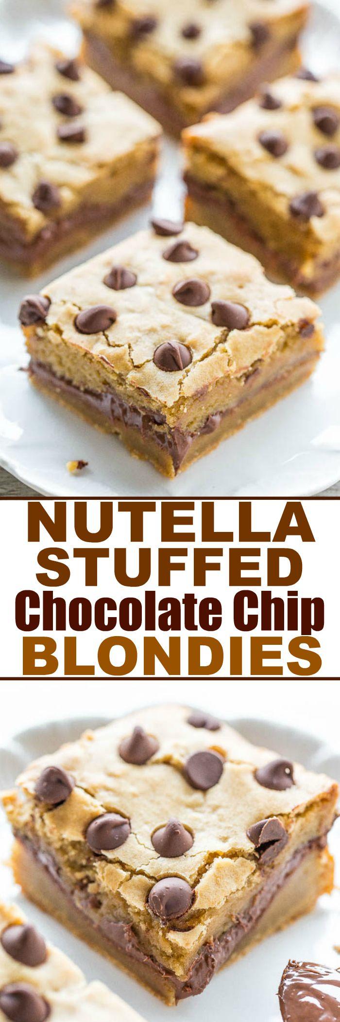 Nutella-Stuffed Chocolate Chip Blondies