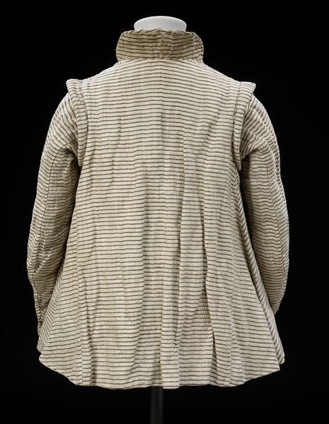 Jacket Place of origin: England, Great Britain Date: 1605-1620 Materials and Techniques: Linen striped with silk and silver strip, linen, linen thread, silk ribbon, silver thread-covered buttons Museum number: 188-1900   V&A