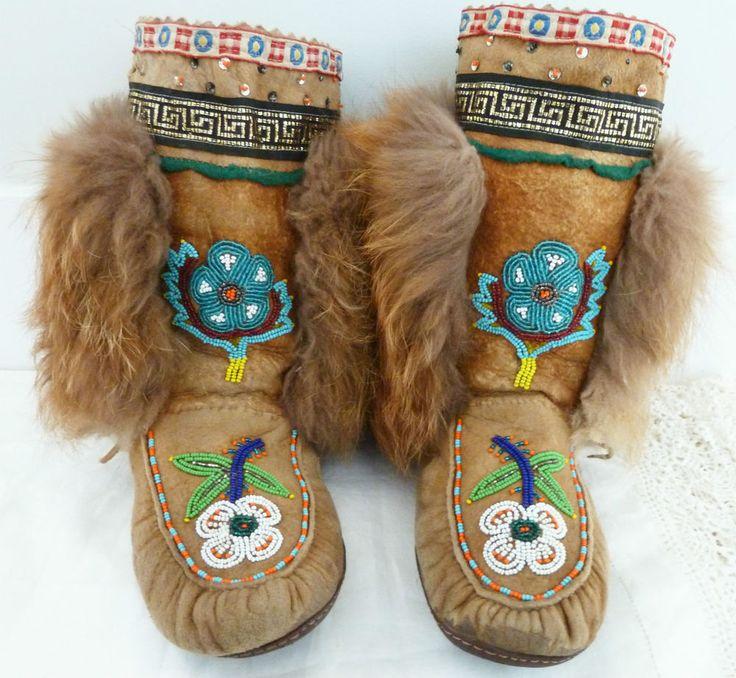 Mukluks Beaded Boots Suede Skin Rabbit Fur Vintage Ladies 7-8 Hand Made Stitched | eBay