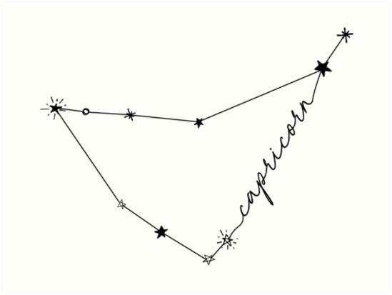 Capricorn Constellation Zodiac Drawing Sticker | Art Print