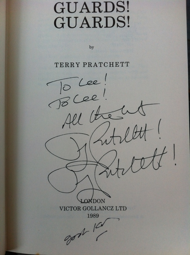 Guards! Guards! by Terry Pratchett! We found this double signed copy by Terry Pratchett and Josh Kirby in a very small book shop and for a very small price! Now the pride of our Pratchett bookshelf!