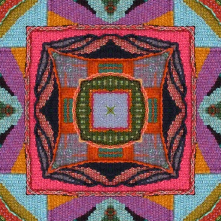 From Tommye Scanlin on Weavolution.  She took one of her tapestries and manipulated it with Repper software to create this kaleidoscopic pattern!
