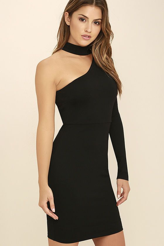 Cocktail hour just wouldn't be the same without the All I Half Black One Shoulder Dress! Sleek and stretchy medium-weight knit starts at a mock neck, and carries into a one shoulder bodice with darting. Bodycon skirt. Hidden back zipper.
