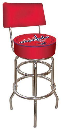 NHL Washington Capitals Padded Bar Stool with Back by Trademark Global. $99.99. 7.5 in X 14.75 in diameter padded commercial grade vinyl seat. Officially Licensed logo. adjustable levelers. Chrome plated double rung base. BackRest for added comfort. This officially NHL licensed,  Washington Capitals padded bar stool with back rest will be the highlight of your bar and gameroom. A 30-inch high bar stool great for bar pub table and bars. Great for gifts and recreation decor.