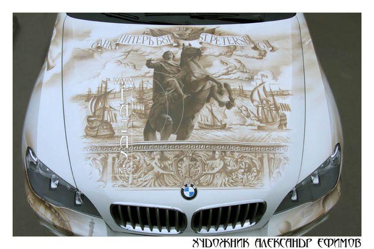 Аэрография на капоте автомобиля БМВ  X5.   #bmw #airbrush #painting #art #artwork #cars #autos #spb #city #tourism #tuning