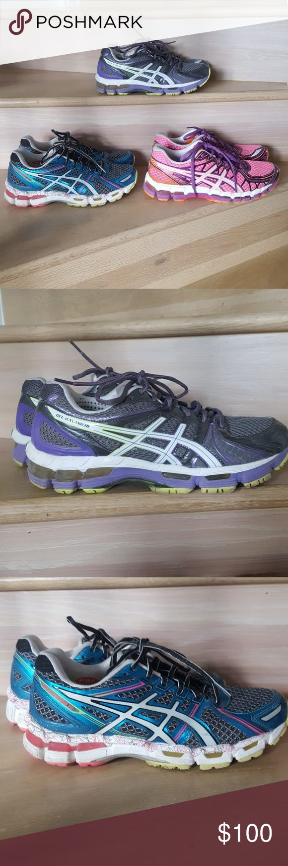 Asics GEL KAYANO 18,19,20 Size  9 BUNDLE 3 pairs of Gel Kayano s. Individual selling for $ 45 each. Gently used. These running shoes are top quality. If you are a runner you know.. upgraded to 3 new pairs...Yours in a bundle for $100!!! I changed out the soles in the purple, Gray for gel soles but can t find the original soles in my closet. If I find them I will include. The other 2 have original insoles. Asics Shoes Sneakers