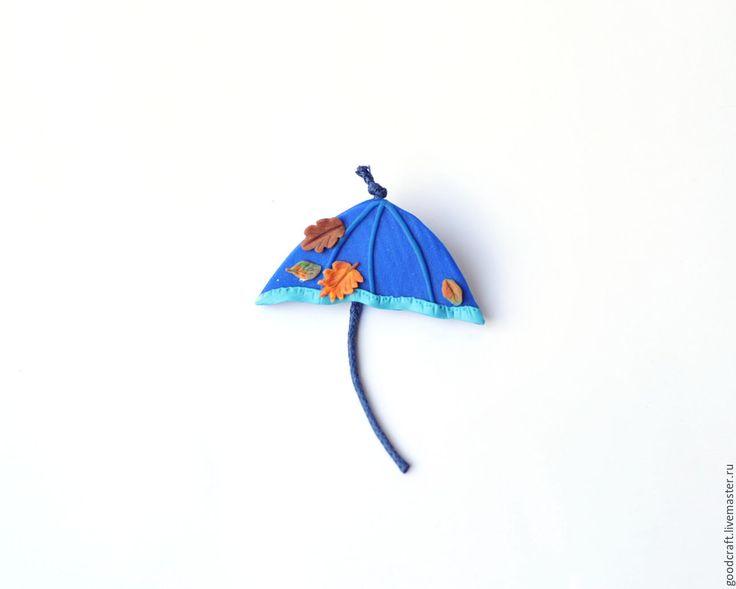 """Купить Брошь """"Зонтик"""" - синий, брошь зонтик, зонтик с листьями, осень, брошь из полимерки"""