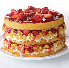 Strawberries and Corn-Cream Layer Cake with White Chocolate Cap'n Crunch Crumbs--New York pastry chef Christina Tosi of Momofuku Milk Bar pairs strawberries with fresh summer corn in an outrageous cake. It's got layers of vanilla buttermilk cake, white-chocolate-dipped Cap'n Crunch crumbs, corn-infused cream, strawberry jam, and of course, lots of fresh strawberries. Via FineCooking