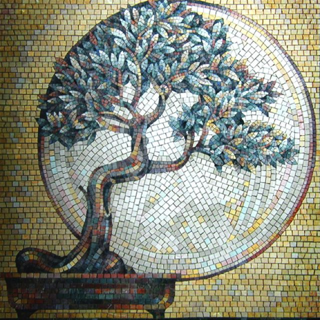 Beautiful bonsai mosaic. Could not find orig artist?