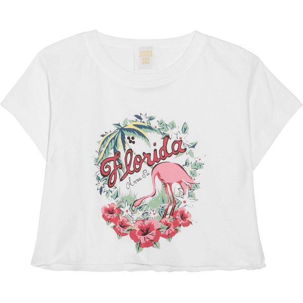 Anna Sui Florida cropped printed cotton-jersey T-shirt ($115) ❤ liked on Polyvore featuring tops, t-shirts, american crop top, colorful t shirts, white tee, crop t shirt and white crop tee