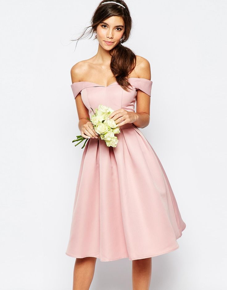 Chi Chi London Midi Prom Dress With Full Skirt And Bardot