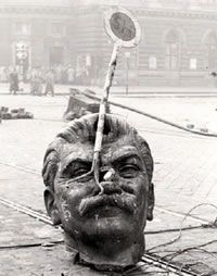 Stalin head,  Hungarian Revolution, 1956. The Hungarian Revolution was a spontaneous nationwide revolt against the government of the People's Republic of Hungary and its Soviet-imposed policies, October 23-November 10. It was the first major threat to Soviet control in Eastern Europe since World War II.  My father fought as a child and subsequently fled to America to avoid execution.