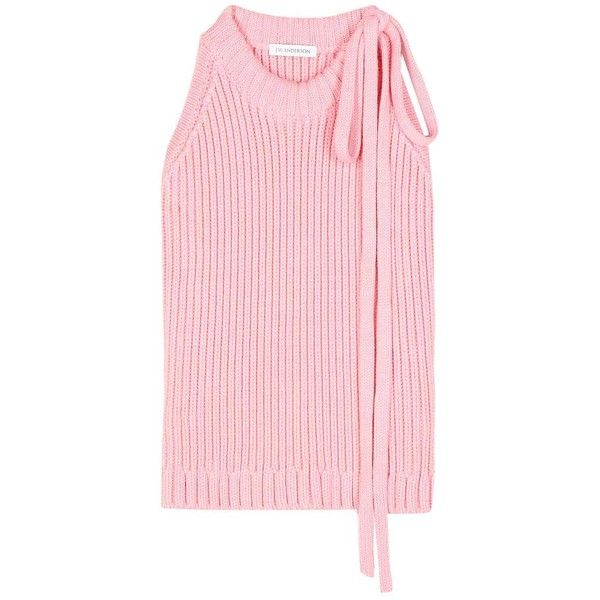 J.W.Anderson Cotton-Knit Sleeveless Sweater ($540) ❤ liked on Polyvore featuring tops, sweaters, pink, pink sweater, no sleeve sweater, pink top, cotton knit sweater and sleeveless tops