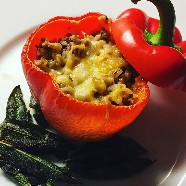 Veal and brown rice stuffed pepper, fried sage. #foodporn #jackandginadinners  Yummery - best recipes. Follow Us! #foodporn