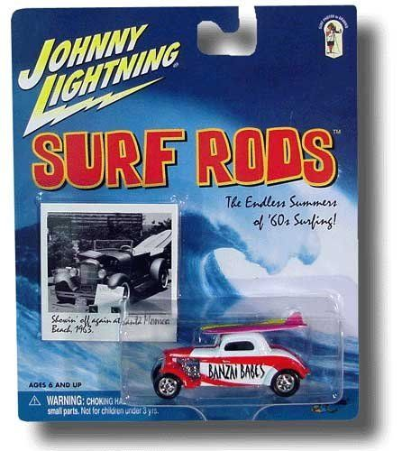 Johnny Lightning - Surf Rods - Banzai Boys - 1:64 Scale by Playing Mantis. $9.99. 1:64 Scale. Diecast Vehicle. Surf Rods. 2000 - Playing Mantis - Johnny Lightning - Surf Rods - Banzai Boys Speed Coupe - Red & White - With 2 Surf Boards - 1:64 Scale Die Cast Metal - Includes: Mini Color Photo of surfer on Banzai Pipeline Waves - Very Rare - MOC - Out of Production - New - Mint - Limited Edition - Collectible