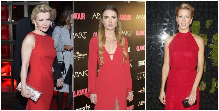 Joanna Racewicz, Julia Kuczyńska i Anita Werner ubrane w wieczorowe, czerwone suknie i oryginalne kolczyki.