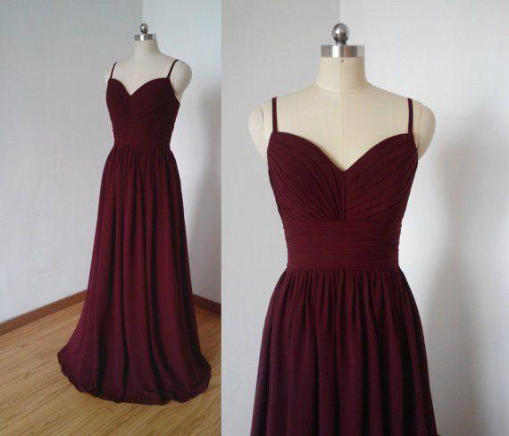 long bridesmaid Dress,burgundy bridesmaid Dress,chiffon bridesmaid dress,cheap bridesmaid dress,PD320
