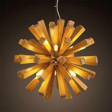 Творческий дерево лампы люстры современная деревянная люстра G9X10 Лампы…