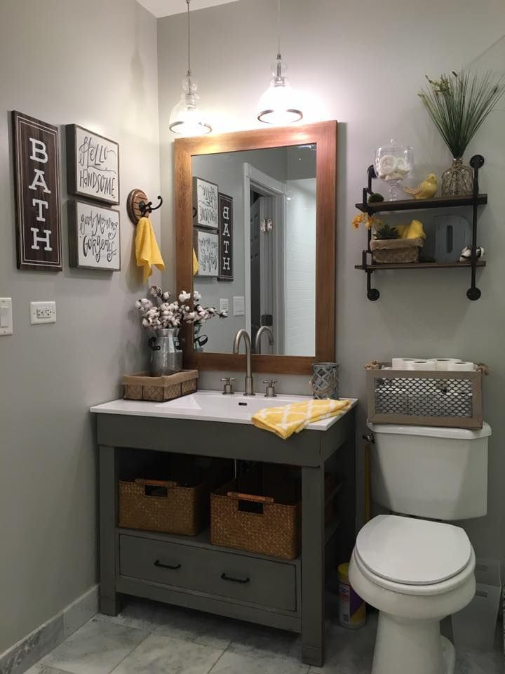 Repose Gray SW walls and Rust-oleum Chalked Country Gray vanity.  Signs and shelving from Hobby Lobby.  LOVE!