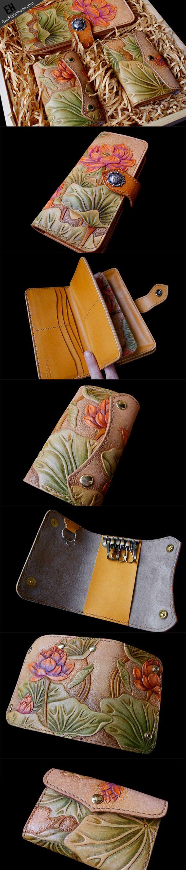Handmade women long carved flower wallet