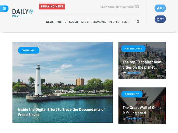 Daily Post – News Magazine Free HTML Template. Daily Post is responsive template combines practical elegance, clean modern with powerful features. It is designed specifically for use across a broad array of devices and platforms. You will have interesting experiences while you are using it.