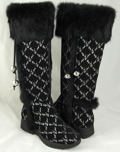 @Overstock - Add a touch of sheer satisfaction to your wardrobe with these tall boots from Baby Phat  Women's shoes feature luxurious faux fur accents and tassels  Pumps are the perfect addition to your fashion wardrobehttp://www.overstock.com/Clothing-Shoes/Baby-Phat-Womens-Wauna-Black-Faux-Fur-Boots/3351542/product.html?CID=214117 $67.99