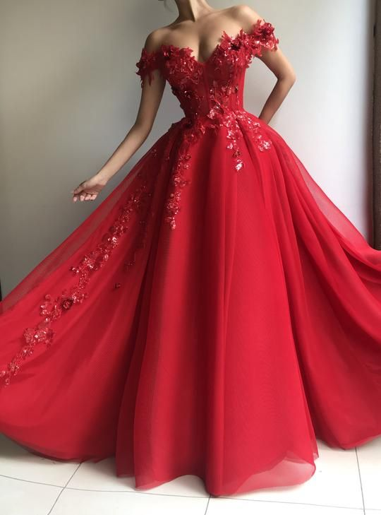 812c2201526e Details - Cherry color - Red stretch mesh net fabric - Handmade embroidered  red flowers with sparkly leaves - Ball-gown dress style,off-shoulder dress  ...