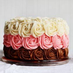 Neapolitan Rose Cake with a surprise inside.: Surprise Inside, Pretty Rose, Beautiful Cake, Surpris Inside Cake, Rose Cake, Cake Boss, Neapolitan Rose, 1St Birthday Cake, Birthday Cakes