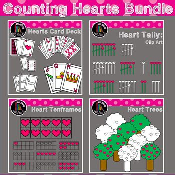Are you looking for hearts themed counting clip art? You've come to the right place! This bundle contains coordinating: Heart Tally marks Heart Ten-frames Heart Playing Cards Heart filled trees Both Colour/color and b&w versions are included! Please use enclosed button and link to my store when using. ***************************** Counting Hearts Bundle Hearts Tallies Hearts Ten Frames Counting Tree Hearts Heart Playing Cards ***************************** Before you pass on t...