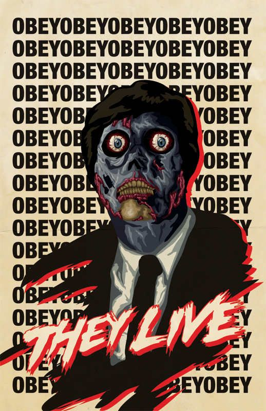 """THEY LIVE (1988) -  A nameless drifter referred to as """"Nada"""", discovers a pair of sunglasses that allow him to wake up to the fact that the ruling class are in fact aliens managing human social affairs through the use of a signal on top of the TV broadcast, concealing their appearance and subliminal messages in mass media."""