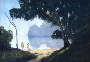 Murrumbidgee River Bathers - Oil on canvas - Artist John Beattie