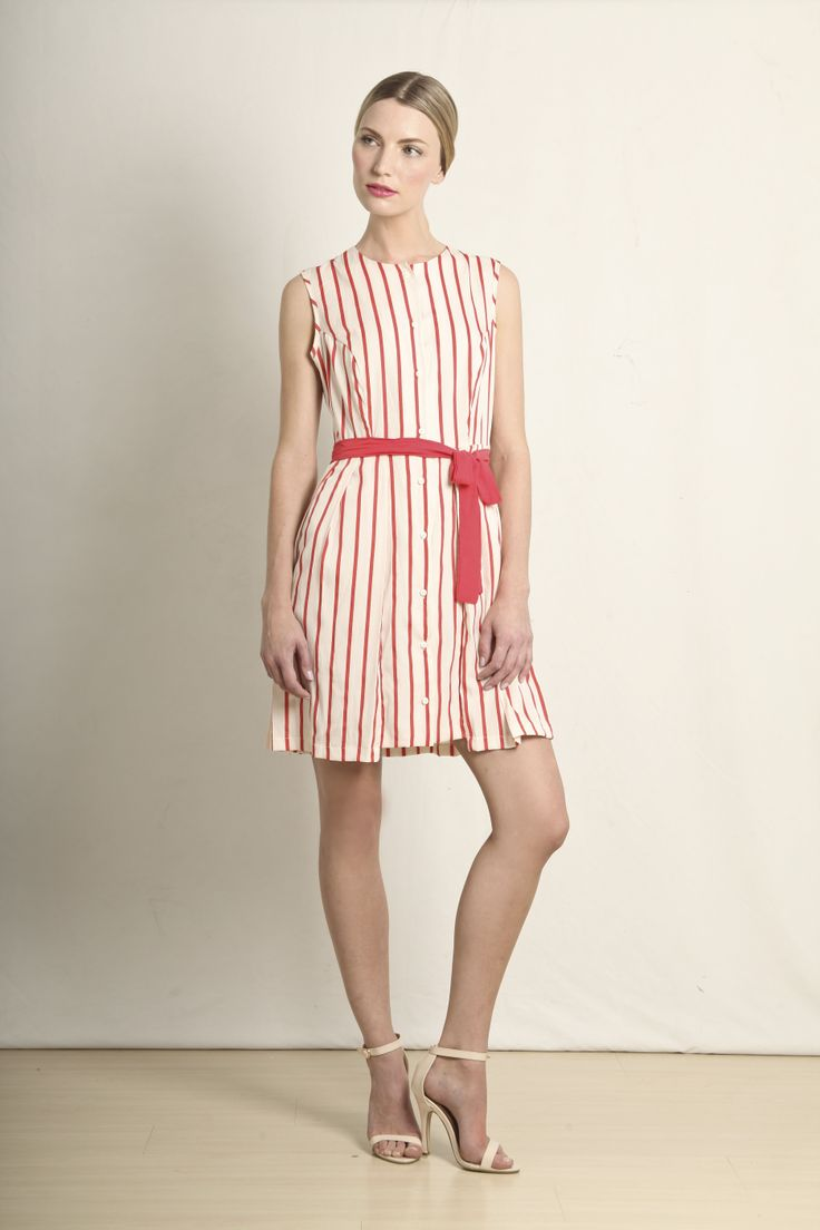 Margot dress in red and cream stripe  GB203-REDS  R740.00  www.georgieb.com
