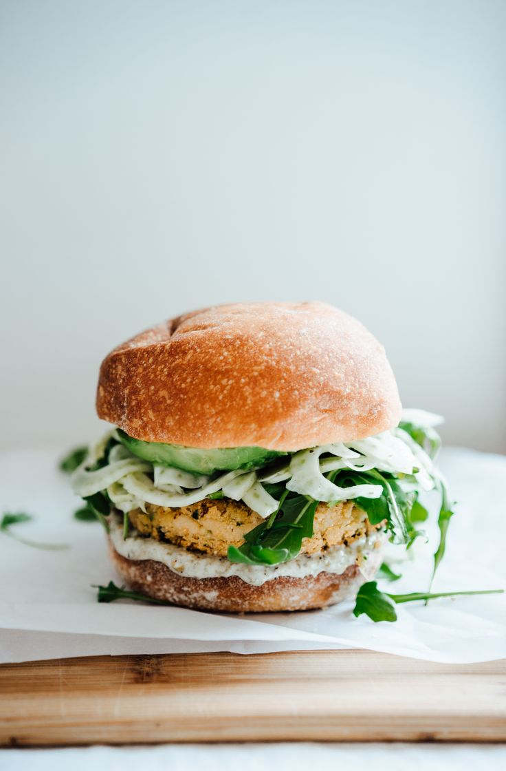 white bean burgers with fennel slaw