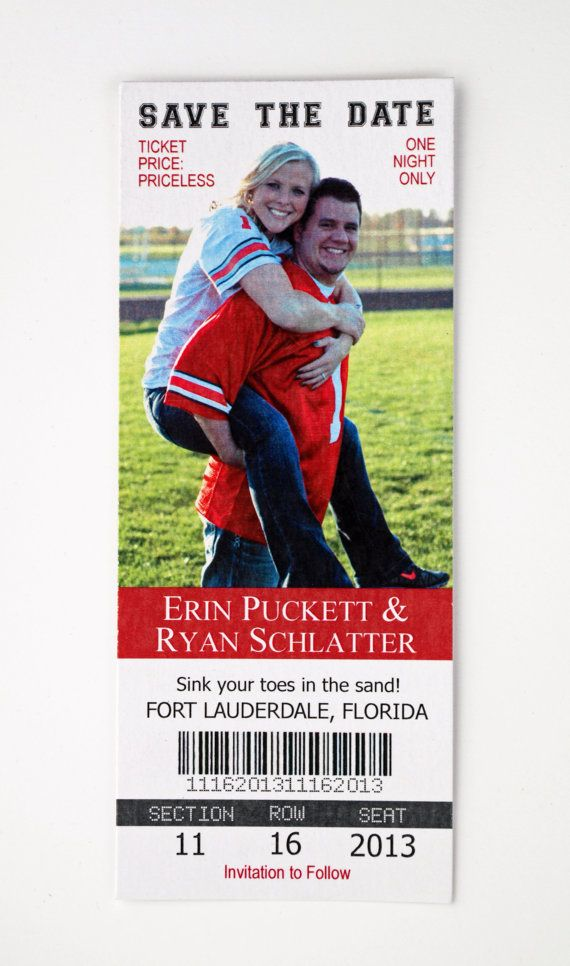 Save the Date  Photo Sports Ticket by ericksondesign on Etsy, $1.50