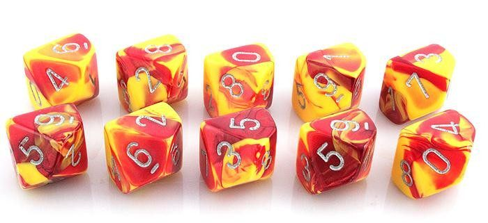 Gemini Dice (Red and Yellow); 10 X D10 Dice Set