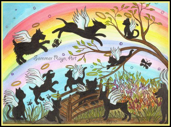Regenbogenbrücke, Angel Katzen & Hunde, ewig frei, Berevement, Verlust von…
