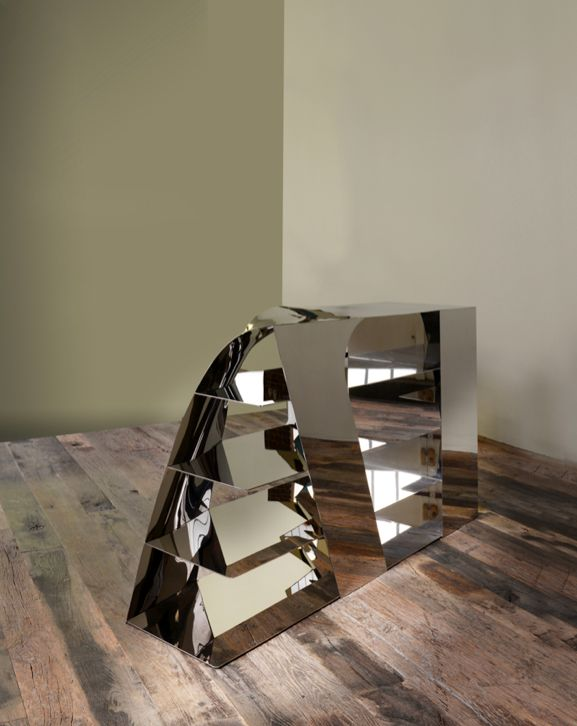 INVERTED BULGY by designer Ifeanyi Oganwu, stainless steel, 158 x 40 x 88,8 cm, edition of 4 + 1EA + 1P