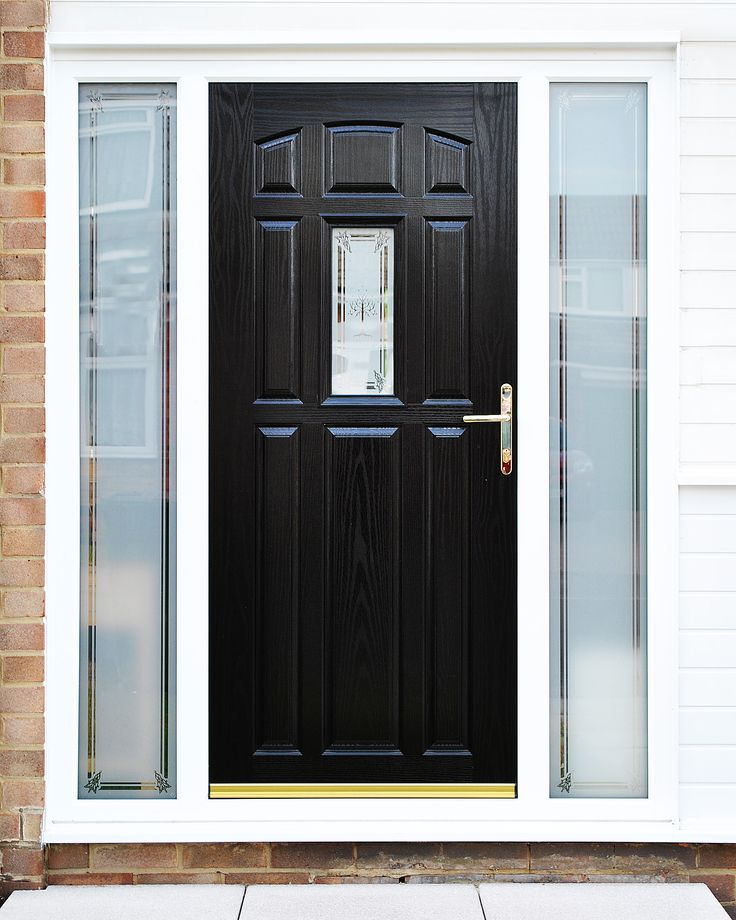 Stunning Bespoke Glass Design service with Sandblasted design and Border with Black Falconier Composite Front Door and matching Side Panels! Bespoke Glass design can offer a world of character and style to any property. Used properly it can really enhance the features of your home, and make it stand out from the crowd. Whether the design is something sentimental or is used to replicate your properties character, there is something for everyone here at Marton Windows.