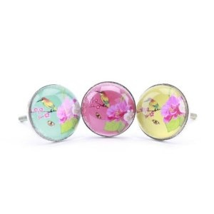 Japanese Bird Glass Drawer / Cupboard Door Knob Handle Pull   3 Colours To  Choose From