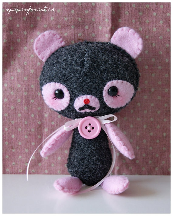 Pink Panda Plushie by littlepaperforest on Etsy :)