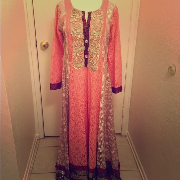 Latest Pakistani dress Gorgeous Pakistani coral color dress. Dresses Maxi