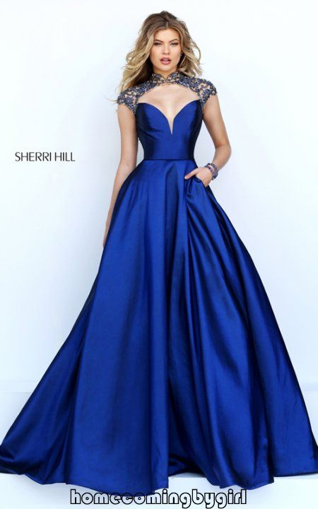 Open Back Cutout Sexy Sherri Hill Navy Evening Gown 50004