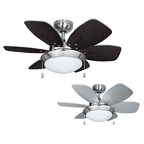 Minisun Moderne En Nickel 76 Cm Ventilateur De Plafond Avec 6 Lames Inversibles 1 Cote Effet Bois 1 Cote Argente Et Une P Ventilateur Plafond Depoli Plafond