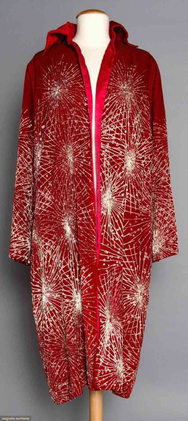 """RED VELVET OPERA COAT, 1920s Painted w/ irridescent gold starburst pattern, tubular long sleeves, """"Ann Waller Farrell Newport, Rhode Island & Miami Beach Florida"""" label, cherry red silk lining, L 42.5"""", (some paint worn off, collar needs stitching in spots) very good. by tommie"""